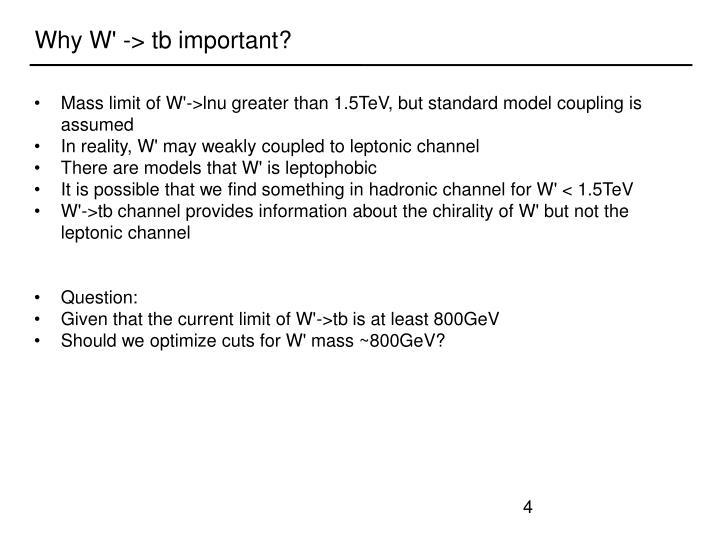 Why W' -> tb important?
