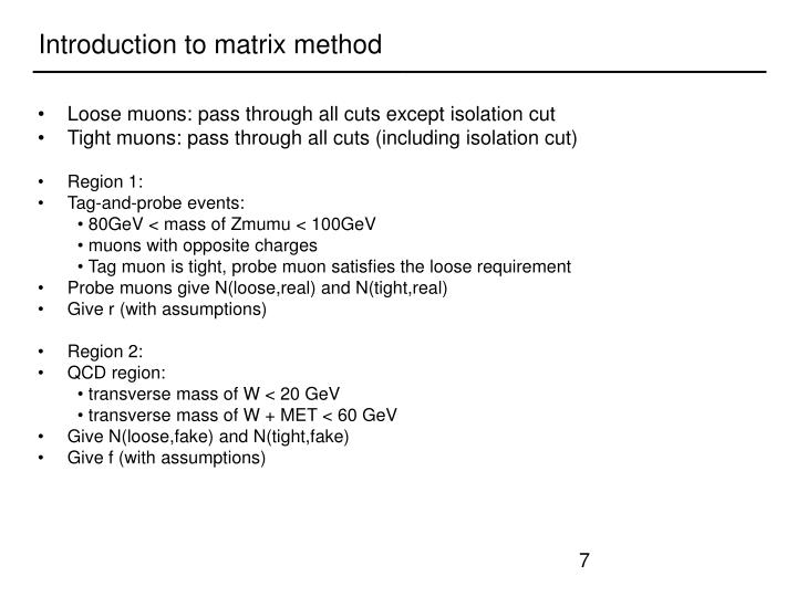 Introduction to matrix method