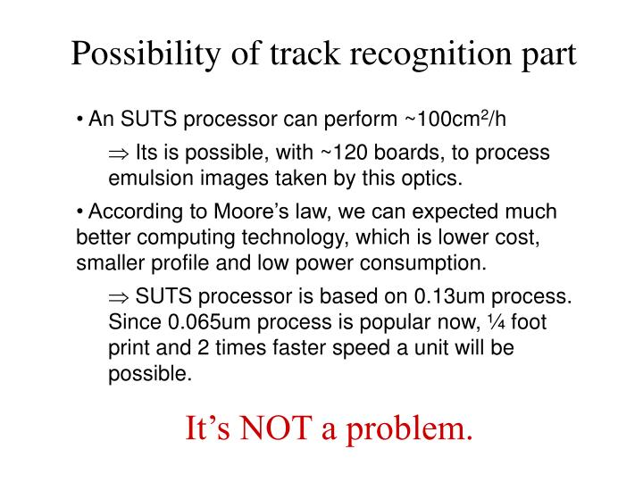 Possibility of track recognition part