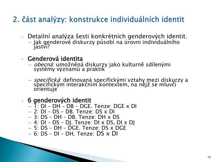 2. část analýzy: konstrukce individuálních identit