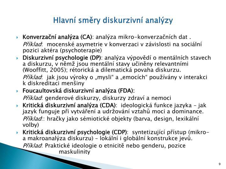 Hlavní směry diskurzivní analýzy
