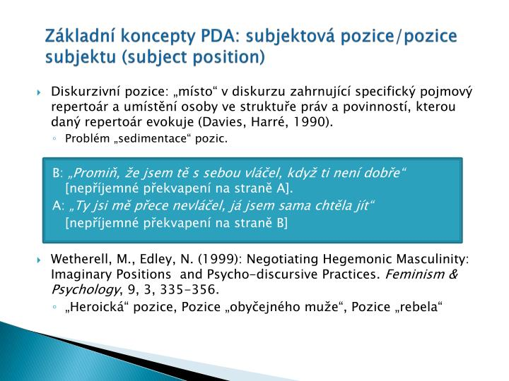 Základní koncepty PDA: subjektová pozice/pozice subjektu (