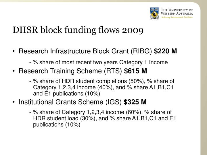 DIISR block funding flows 2009
