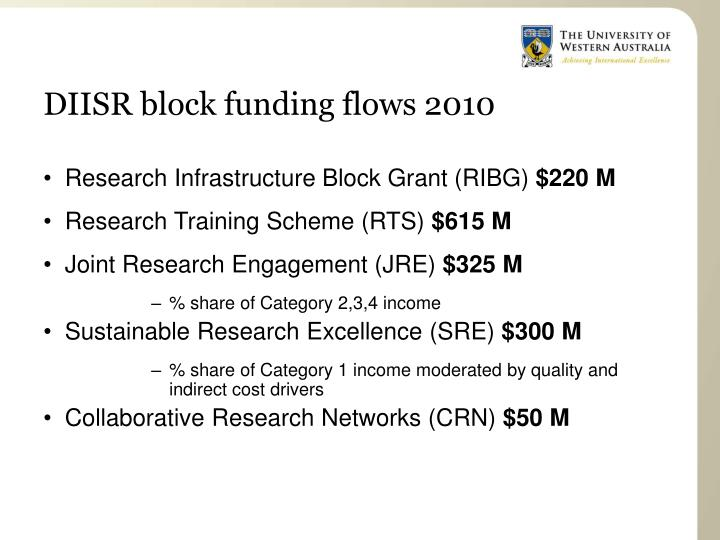 DIISR block funding flows 2010