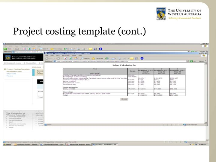 Project costing template (cont.)