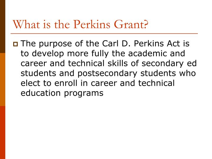 What is the Perkins Grant?