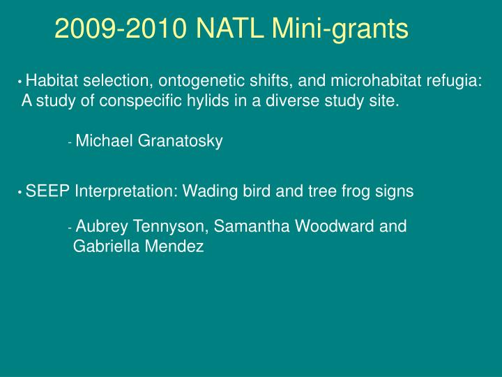 2009-2010 NATL Mini-grants