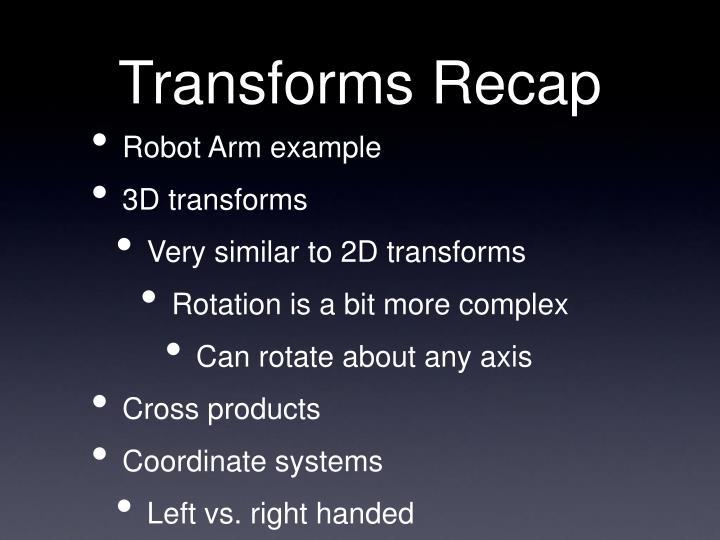 Transforms Recap