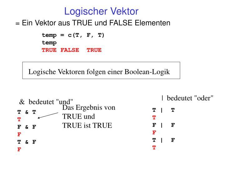 Logische Vektoren folgen einer Boolean-Logik