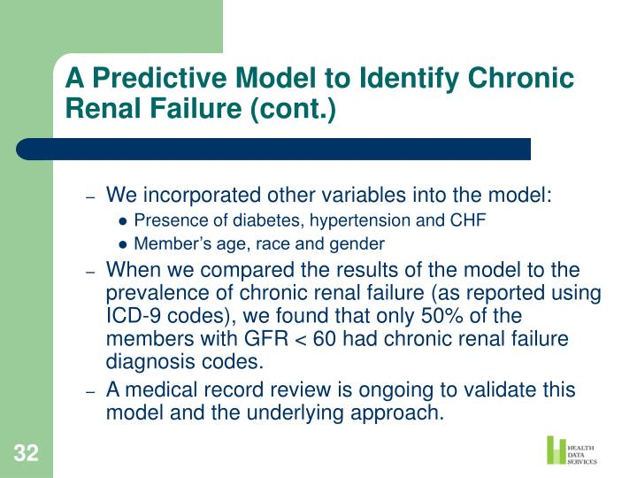 A Predictive Model to Identify Chronic Renal Failure (cont.)