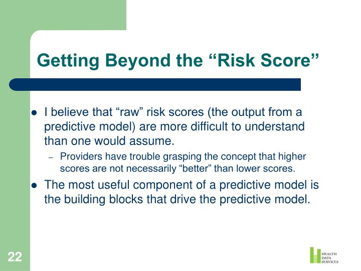 """Getting Beyond the """"Risk Score"""""""