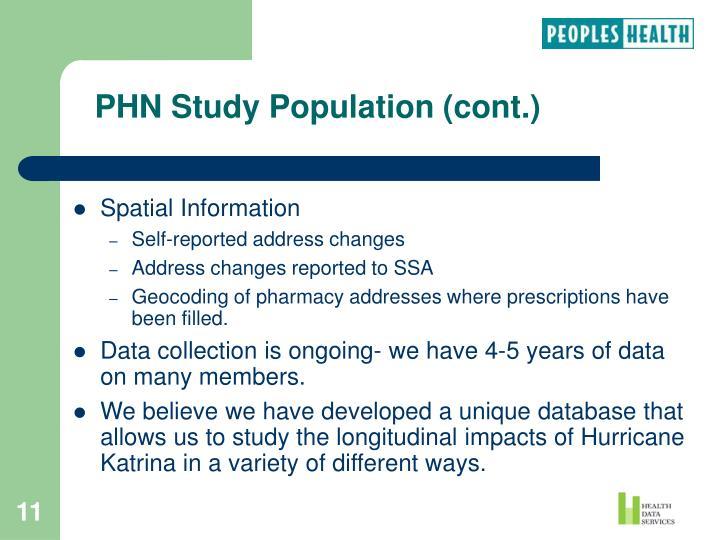 PHN Study Population (cont.)
