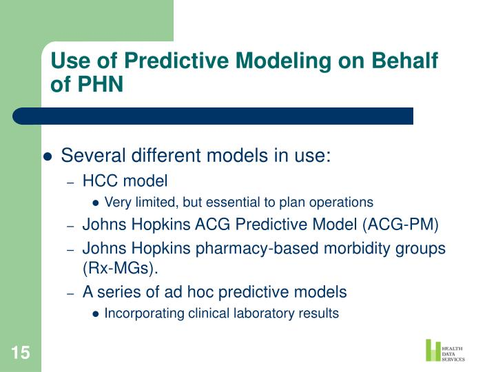 Use of Predictive Modeling on Behalf of PHN