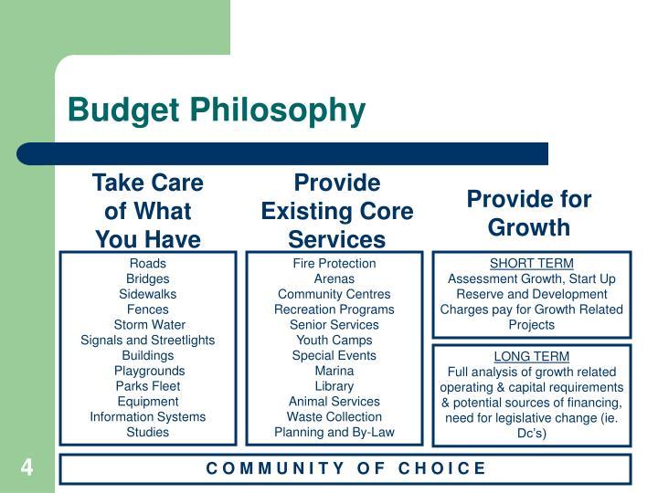 Budget Philosophy
