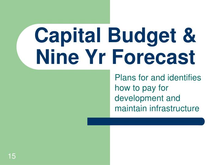 Capital Budget & Nine Yr Forecast
