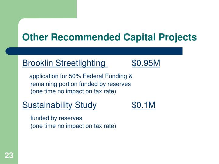 Other Recommended Capital Projects