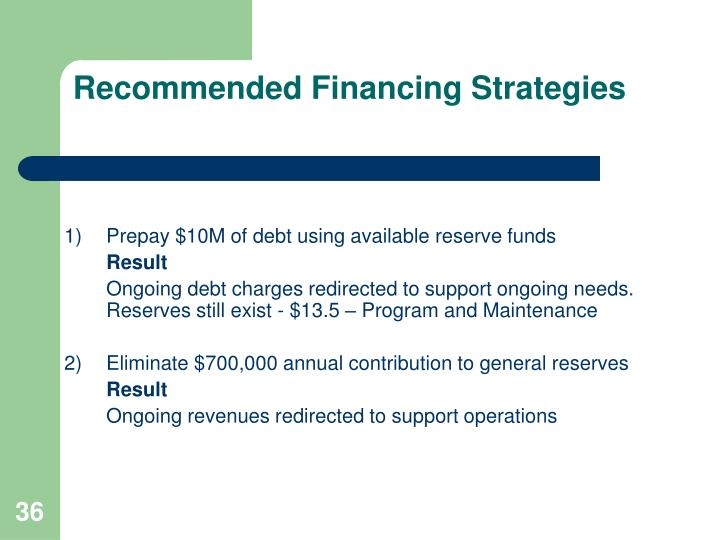 Recommended Financing Strategies