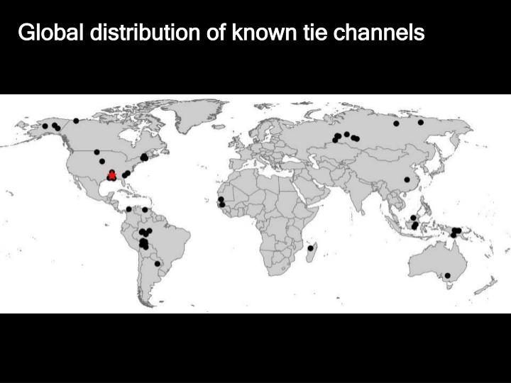 Global distribution of known tie channels