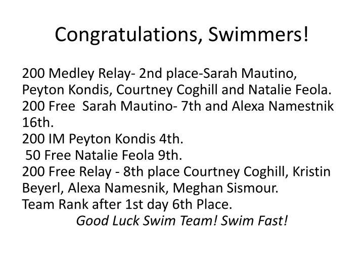 Congratulations, Swimmers!
