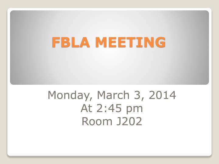 FBLA MEETING