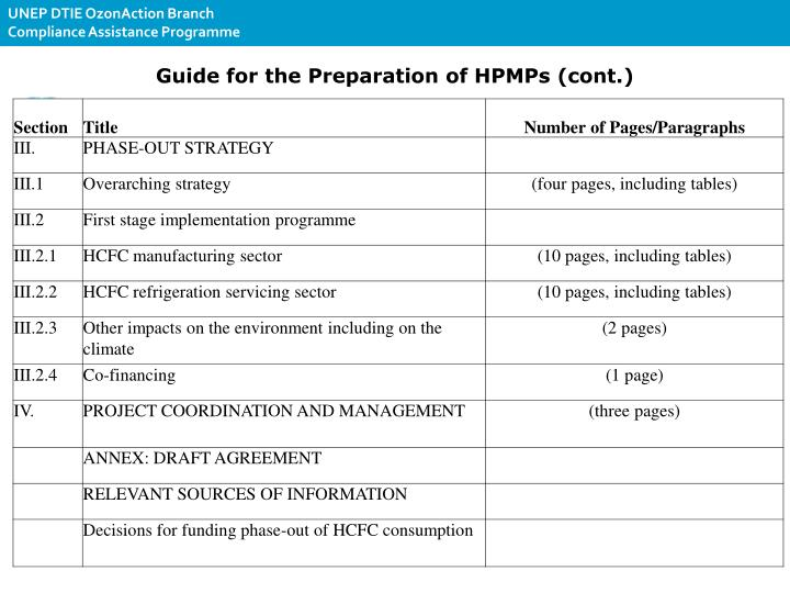 Guide for the Preparation of HPMPs (cont.)