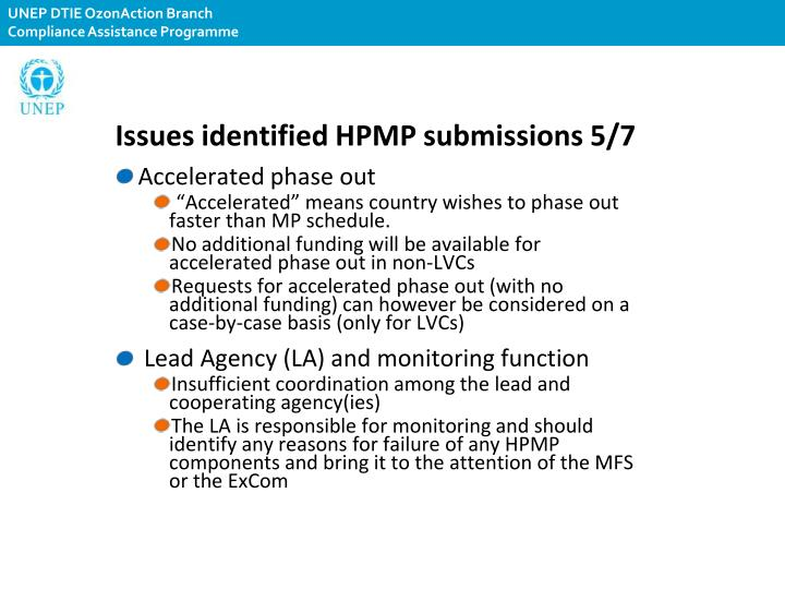 Issues identified HPMP submissions 5/7