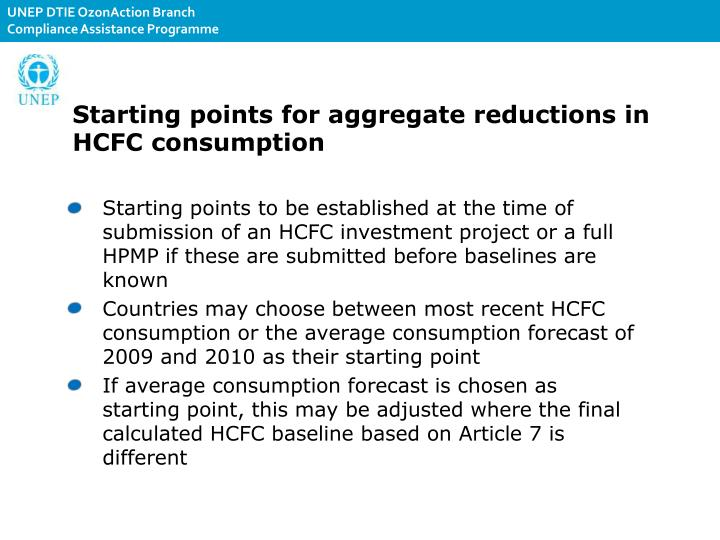 Starting points for aggregate reductions in HCFC consumption