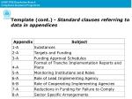 template cont standard clauses referring to data in appendices