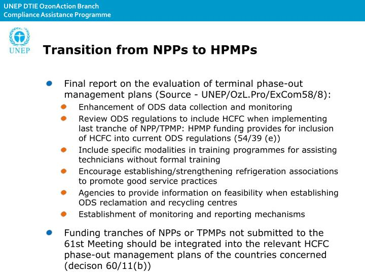 Transition from NPPs to HPMPs