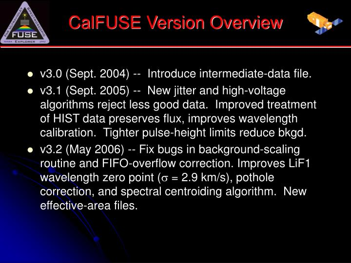 CalFUSE Version Overview
