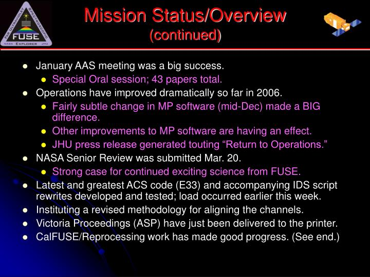 Mission Status/Overview