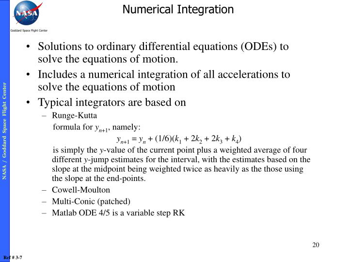 Solutions to ordinary differential equations (ODEs) to solve the equations of motion.