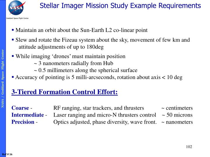 Stellar Imager Mission Study Example Requirements