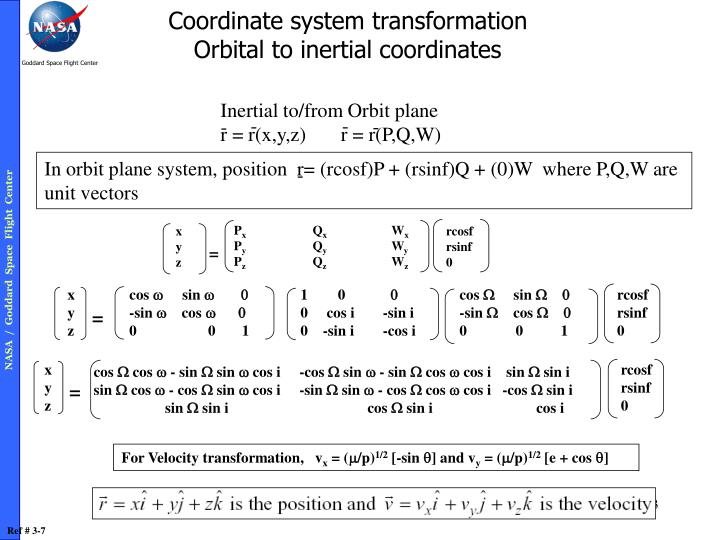 Coordinate system transformation