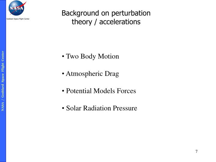 Background on perturbation