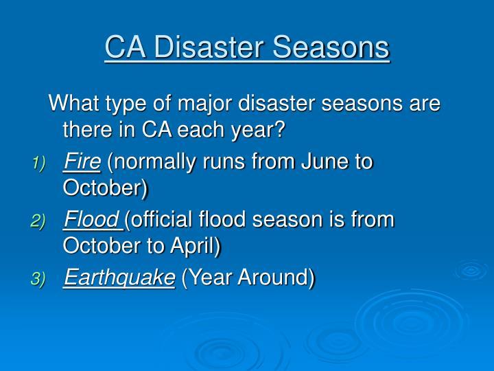 CA Disaster Seasons