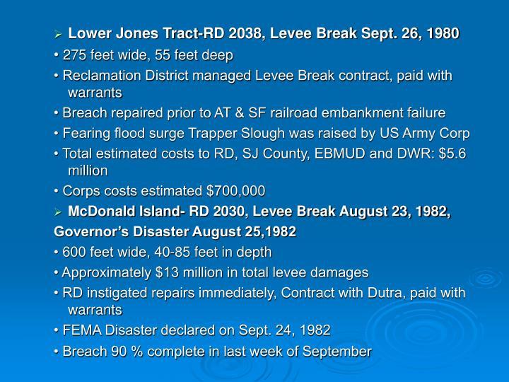 Lower Jones Tract-RD 2038, Levee Break Sept. 26, 1980