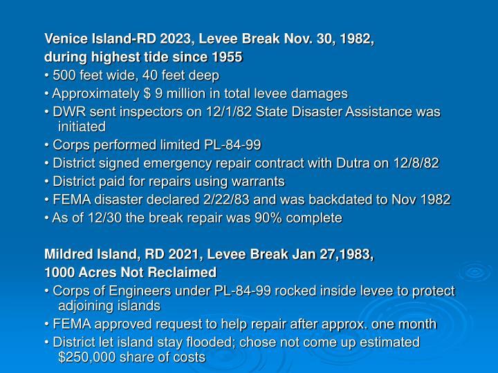 Venice Island-RD 2023, Levee Break Nov. 30, 1982,