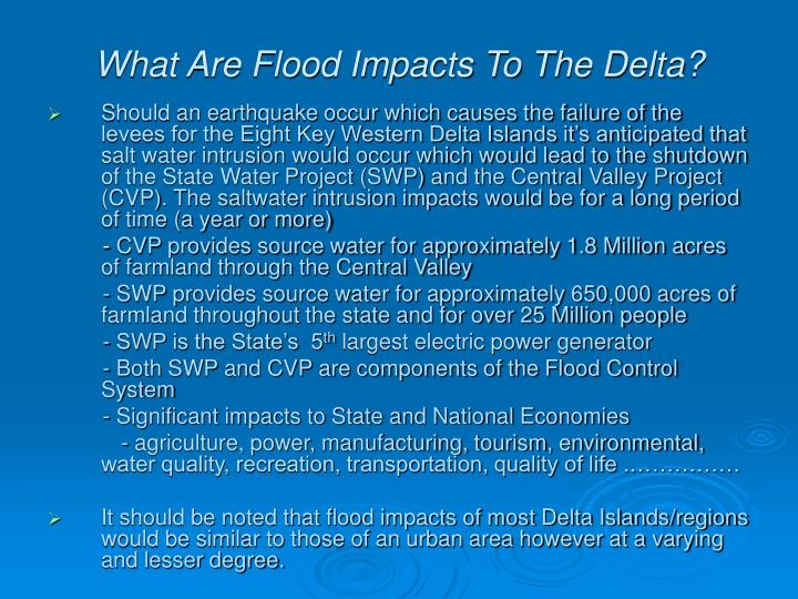 What Are Flood Impacts To The Delta?