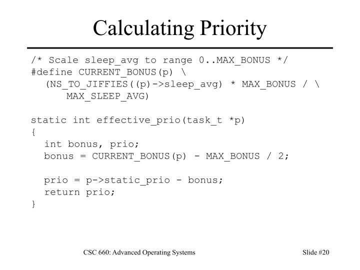 Calculating Priority