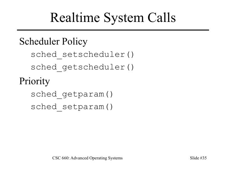 Realtime System Calls