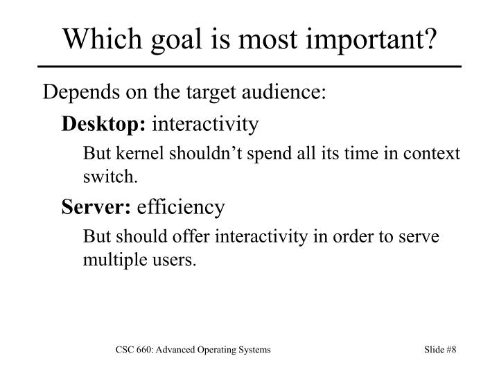 Which goal is most important?
