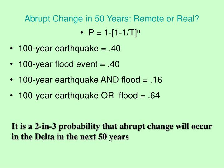 Abrupt Change in 50 Years: Remote or Real?