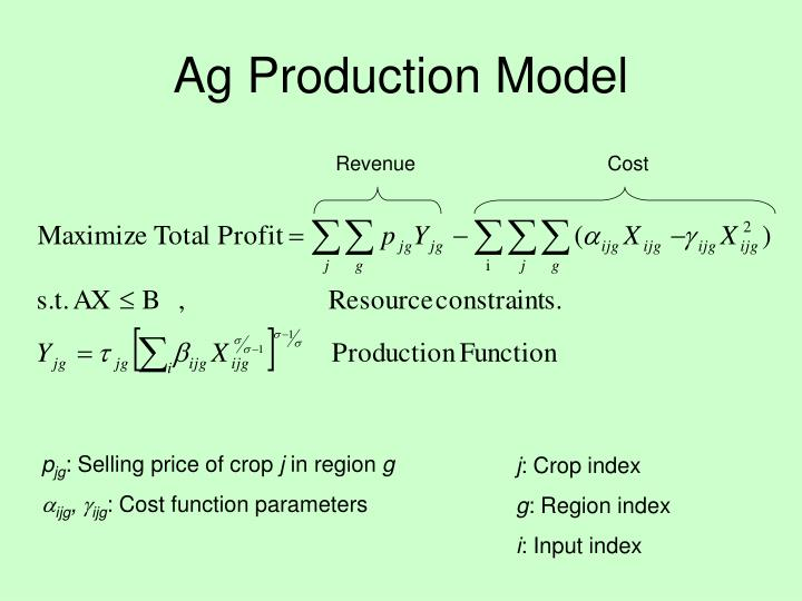 Ag Production Model
