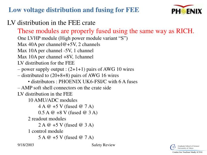 Low voltage distribution and fusing for FEE