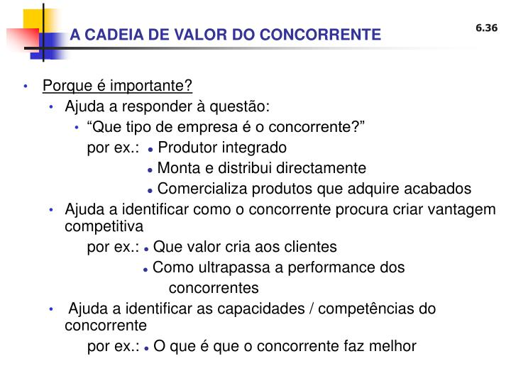 A CADEIA DE VALOR DO CONCORRENTE