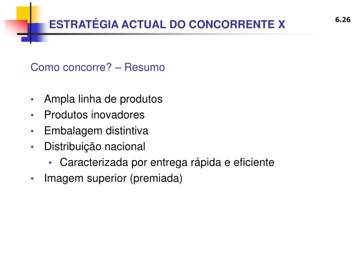 ESTRATÉGIA ACTUAL DO CONCORRENTE X