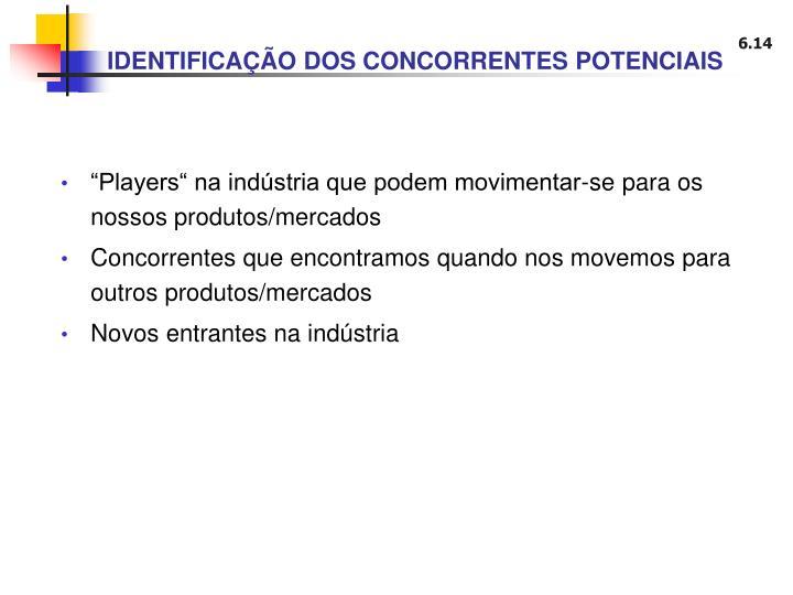 IDENTIFICAÇÃO DOS CONCORRENTES POTENCIAIS