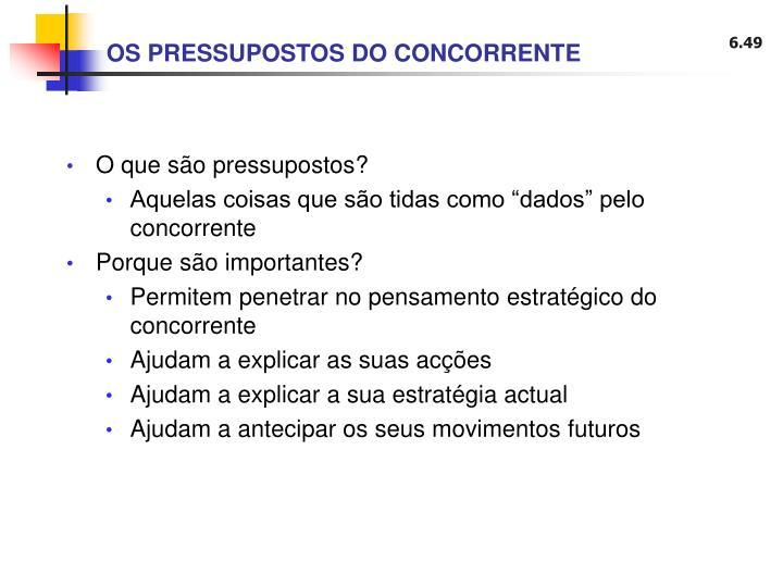 OS PRESSUPOSTOS DO CONCORRENTE