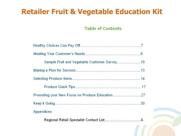 Retailer Fruit & Vegetable Education Kit